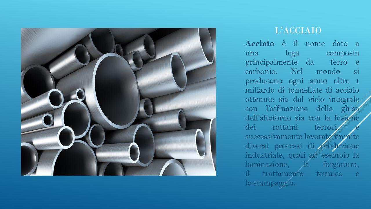 L'ACCIAIO Acciaio è il nome dato a una lega composta principalmente da ferro e carbonio. Nel mondo si producono ogni anno oltre 1 miliardo di tonnella