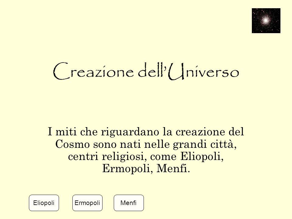 Creazione dell'Universo I miti che riguardano la creazione del Cosmo sono nati nelle grandi città, centri religiosi, come Eliopoli, Ermopoli, Menfi. E