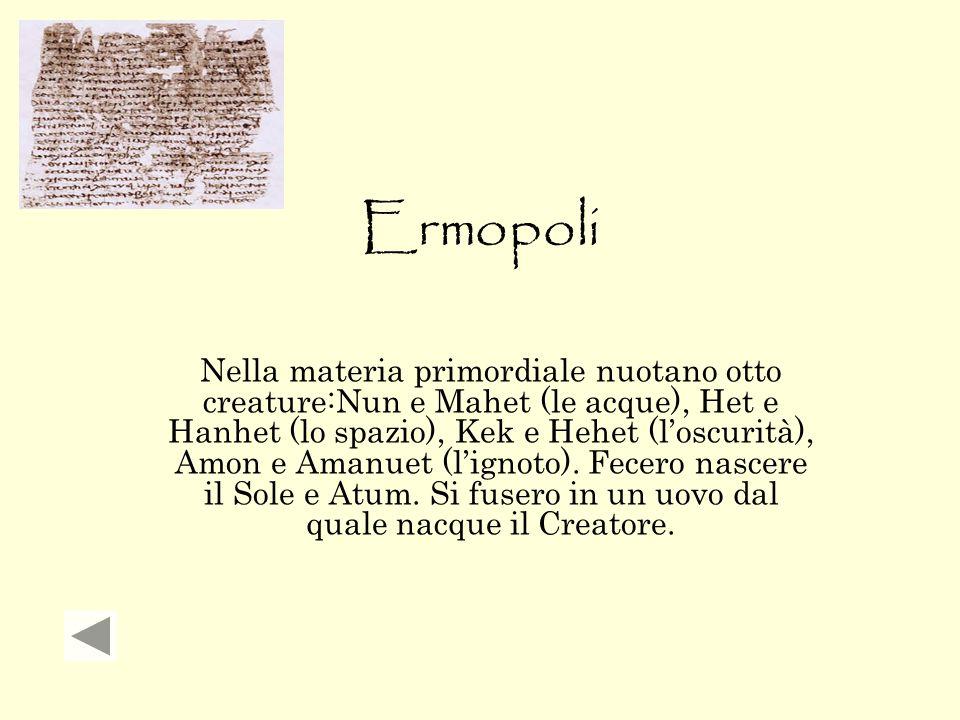 Ermopoli Nella materia primordiale nuotano otto creature:Nun e Mahet (le acque), Het e Hanhet (lo spazio), Kek e Hehet (l'oscurità), Amon e Amanuet (l