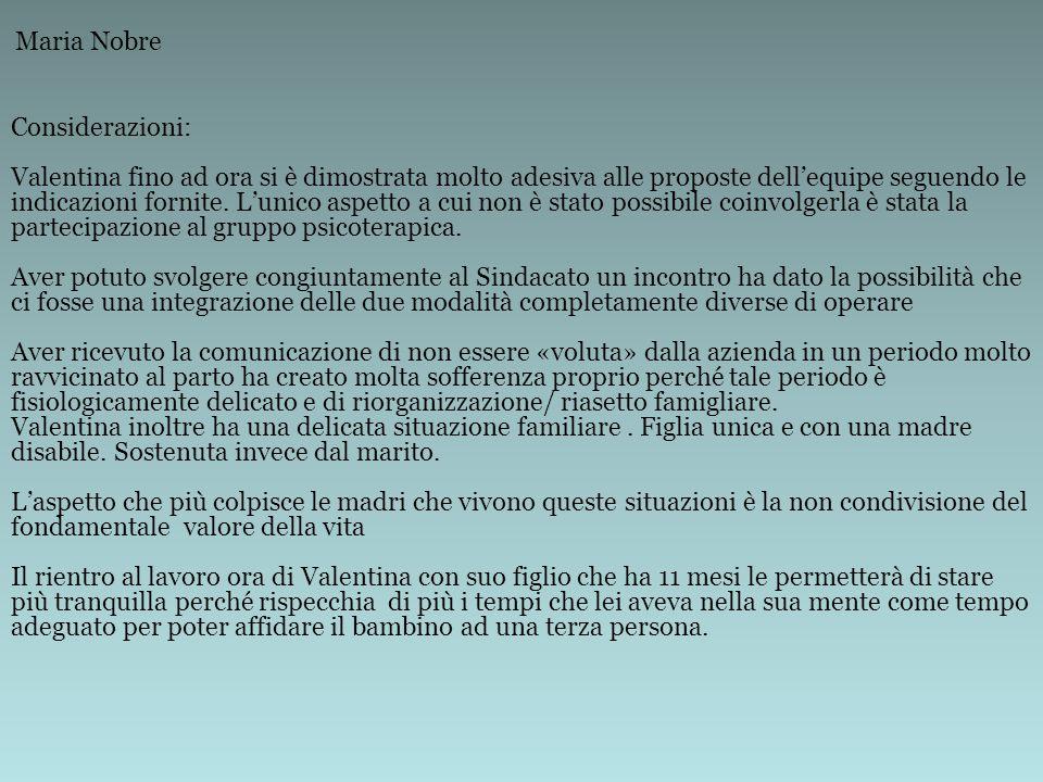 Considerazioni: Valentina fino ad ora si è dimostrata molto adesiva alle proposte dell'equipe seguendo le indicazioni fornite.