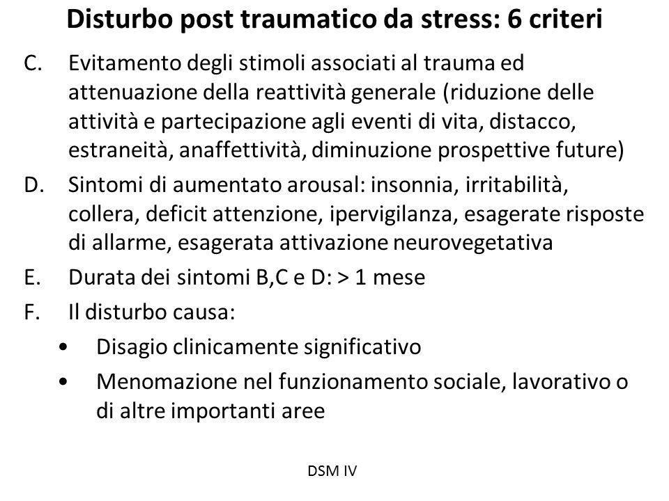 Disturbo post traumatico da stress: 6 criteri C.Evitamento degli stimoli associati al trauma ed attenuazione della reattività generale (riduzione dell