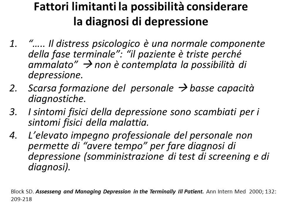 """Fattori limitanti la possibilità considerare la diagnosi di depressione 1.""""….. Il distress psicologico è una normale componente della fase terminale"""":"""