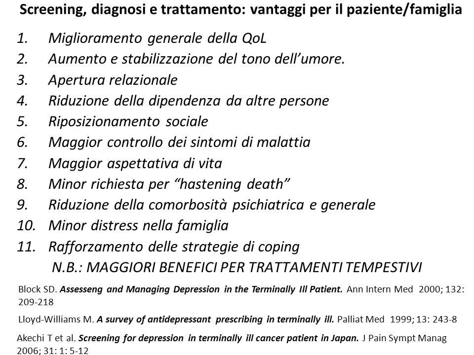 Screening, diagnosi e trattamento: vantaggi per il paziente/famiglia 1.Miglioramento generale della QoL 2.Aumento e stabilizzazione del tono dell'umor