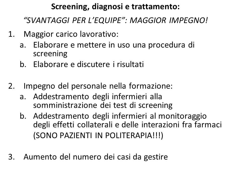 """Screening, diagnosi e trattamento: """"SVANTAGGI PER L'EQUIPE"""": MAGGIOR IMPEGNO! 1.Maggior carico lavorativo: a.Elaborare e mettere in uso una procedura"""