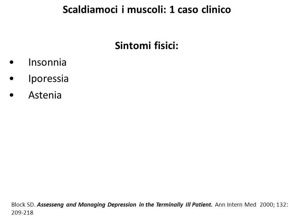 Scaldiamoci i muscoli: 1 caso clinico Sintomi fisici: Insonnia Iporessia Astenia Block SD. Assesseng and Managing Depression in the Terminally Ill Pat