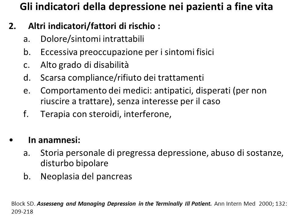 Gli indicatori della depressione nei pazienti a fine vita 2.Altri indicatori/fattori di rischio : a.Dolore/sintomi intrattabili b.Eccessiva preoccupaz