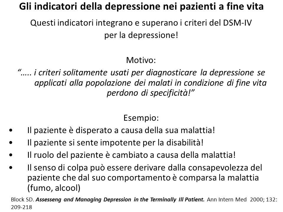 """Gli indicatori della depressione nei pazienti a fine vita Questi indicatori integrano e superano i criteri del DSM-IV per la depressione! Motivo: """"….."""