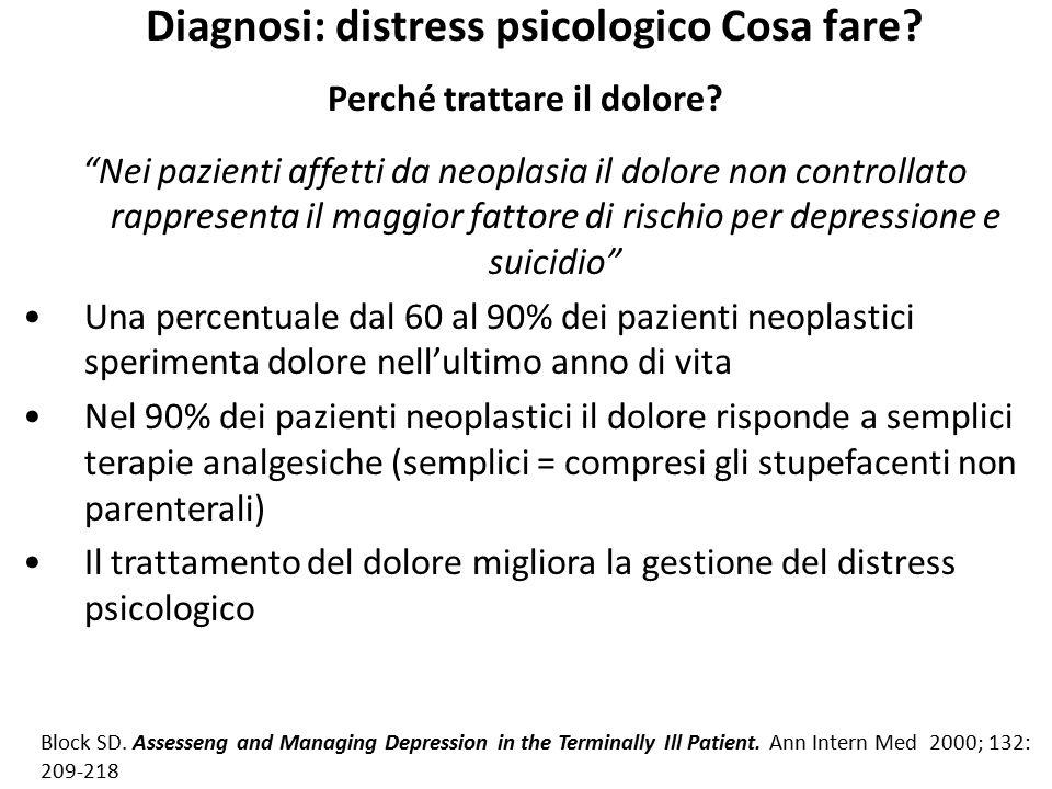 """Diagnosi: distress psicologico Cosa fare? Perché trattare il dolore? """"Nei pazienti affetti da neoplasia il dolore non controllato rappresenta il maggi"""