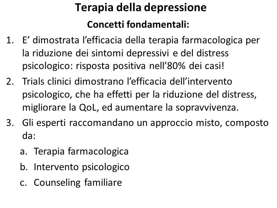 Terapia della depressione Concetti fondamentali: 1.E' dimostrata l'efficacia della terapia farmacologica per la riduzione dei sintomi depressivi e del