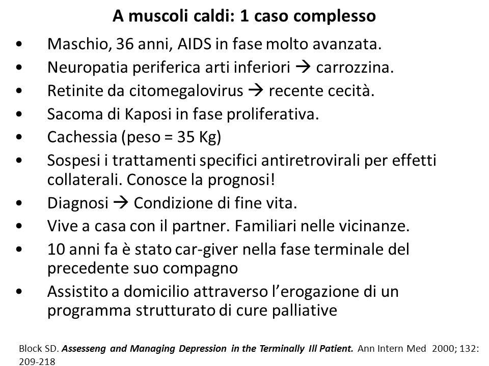 A muscoli caldi: 1 caso complesso Maschio, 36 anni, AIDS in fase molto avanzata. Neuropatia periferica arti inferiori  carrozzina. Retinite da citome
