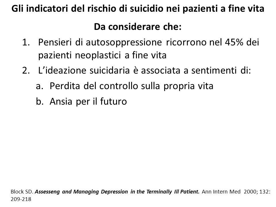 Gli indicatori del rischio di suicidio nei pazienti a fine vita Da considerare che: 1.Pensieri di autosoppressione ricorrono nel 45% dei pazienti neop