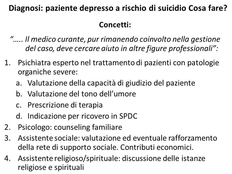 """Diagnosi: paziente depresso a rischio di suicidio Cosa fare? Concetti: """"….. Il medico curante, pur rimanendo coinvolto nella gestione del caso, deve c"""