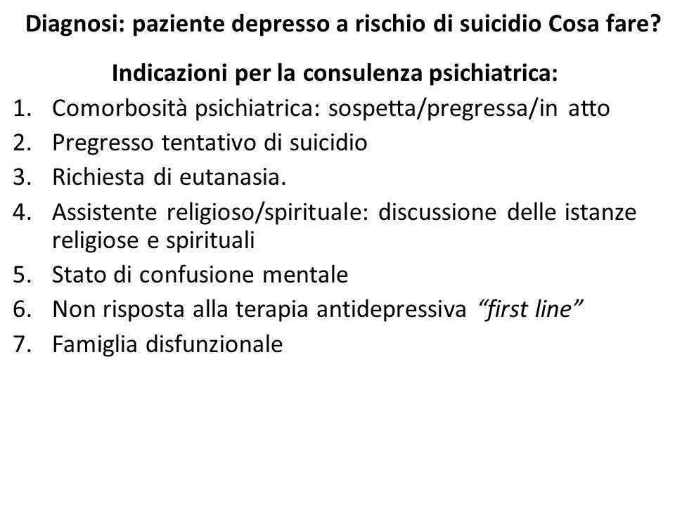 Diagnosi: paziente depresso a rischio di suicidio Cosa fare? Indicazioni per la consulenza psichiatrica: 1.Comorbosità psichiatrica: sospetta/pregress