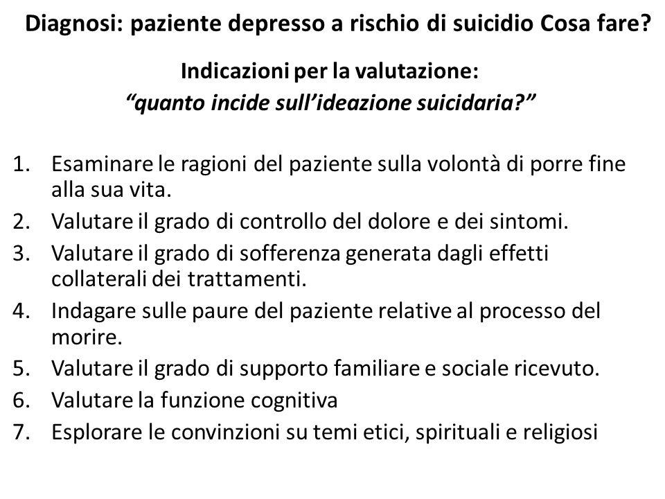 """Diagnosi: paziente depresso a rischio di suicidio Cosa fare? Indicazioni per la valutazione: """"quanto incide sull'ideazione suicidaria?"""" 1.Esaminare le"""