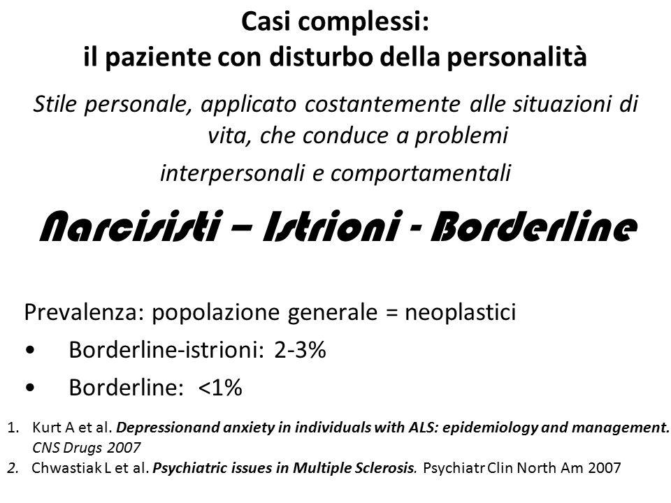 Casi complessi: il paziente con disturbo della personalità Stile personale, applicato costantemente alle situazioni di vita, che conduce a problemi in