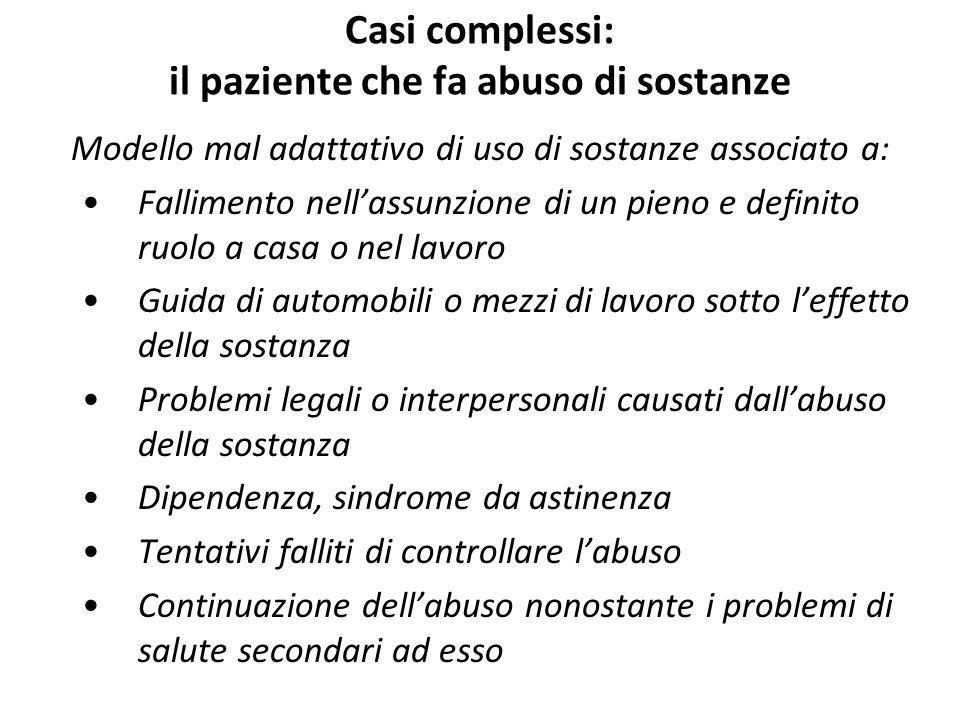 Casi complessi: il paziente che fa abuso di sostanze Modello mal adattativo di uso di sostanze associato a: Fallimento nell'assunzione di un pieno e d