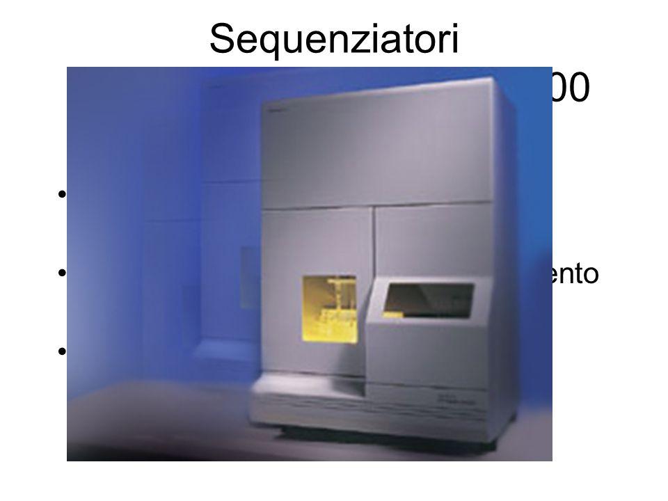 Sequenziatori ABI PRISM 310, 3100, 8000 Tecnologia per il sequenziamento automatico in elettroforesi capillare Terminatori fluorescenti a trasferimento di energia Cycle Sequencing