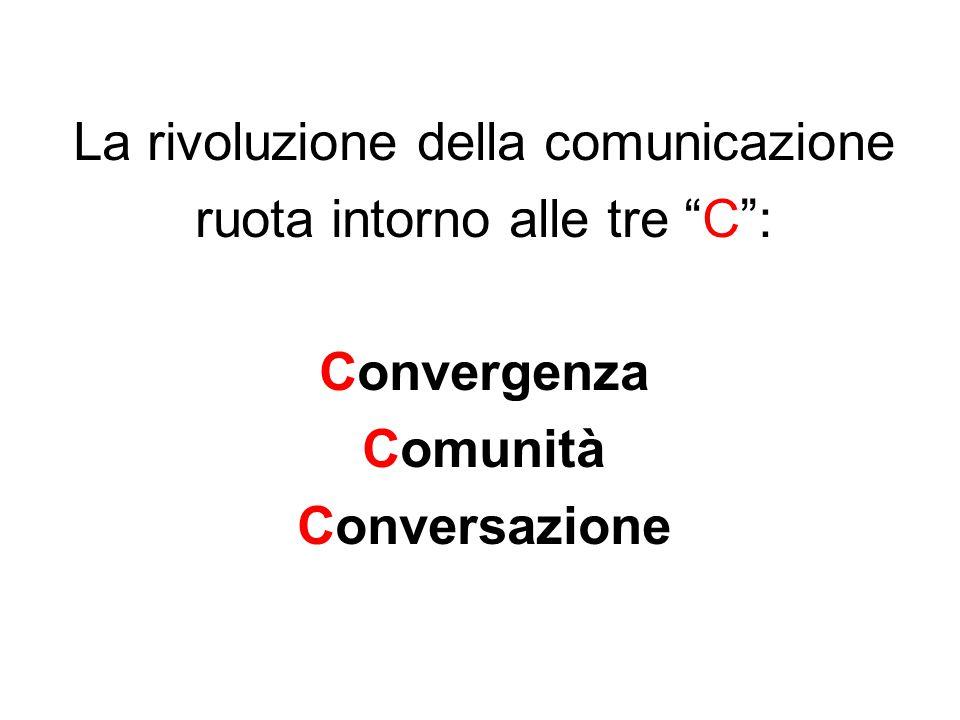 La rivoluzione della comunicazione ruota intorno alle tre C : Convergenza Comunità Conversazione
