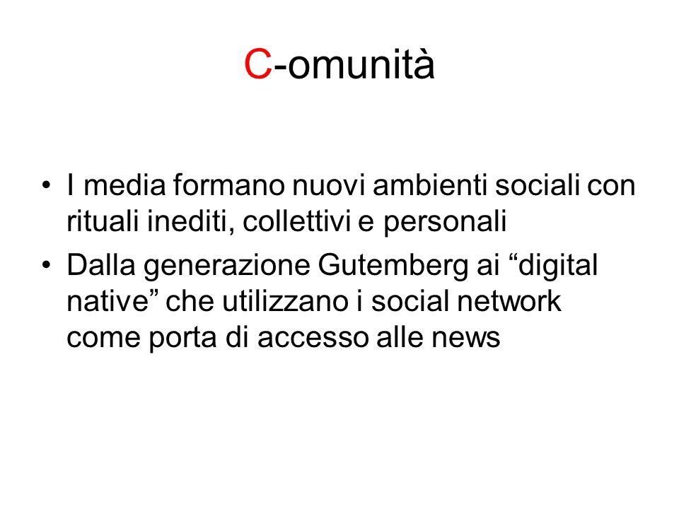 C-omunità I media formano nuovi ambienti sociali con rituali inediti, collettivi e personali Dalla generazione Gutemberg ai digital native che utilizzano i social network come porta di accesso alle news