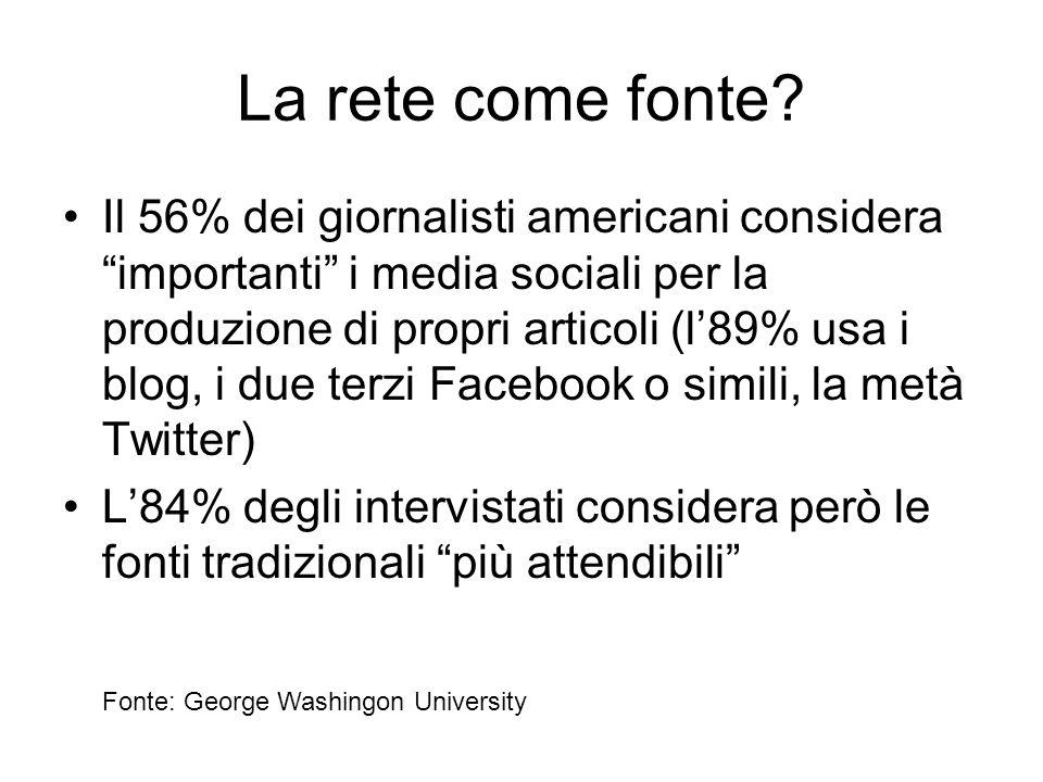 Il 56% dei giornalisti americani considera importanti i media sociali per la produzione di propri articoli (l'89% usa i blog, i due terzi Facebook o simili, la metà Twitter) L'84% degli intervistati considera però le fonti tradizionali più attendibili La rete come fonte.