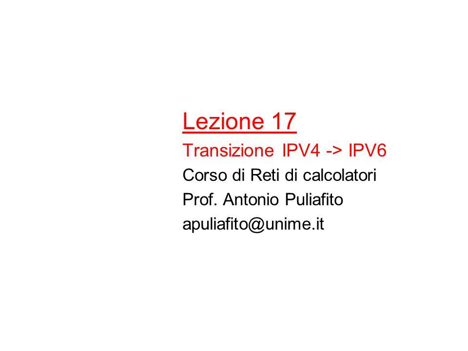 Relay router/esempio Pacchetto dal sito 1 al sito 2 ha percorsi alternativi –Tunnel 6to4 usando R1- reteIPv4-R2 –Tunnel 6to4 + rete IPv4 + link IPv6 usando R3 Sito 1 Sito 2 Sito 3 Rete IPv4 R1 R2 R3 Link IPv6 Relay router Router dual stack