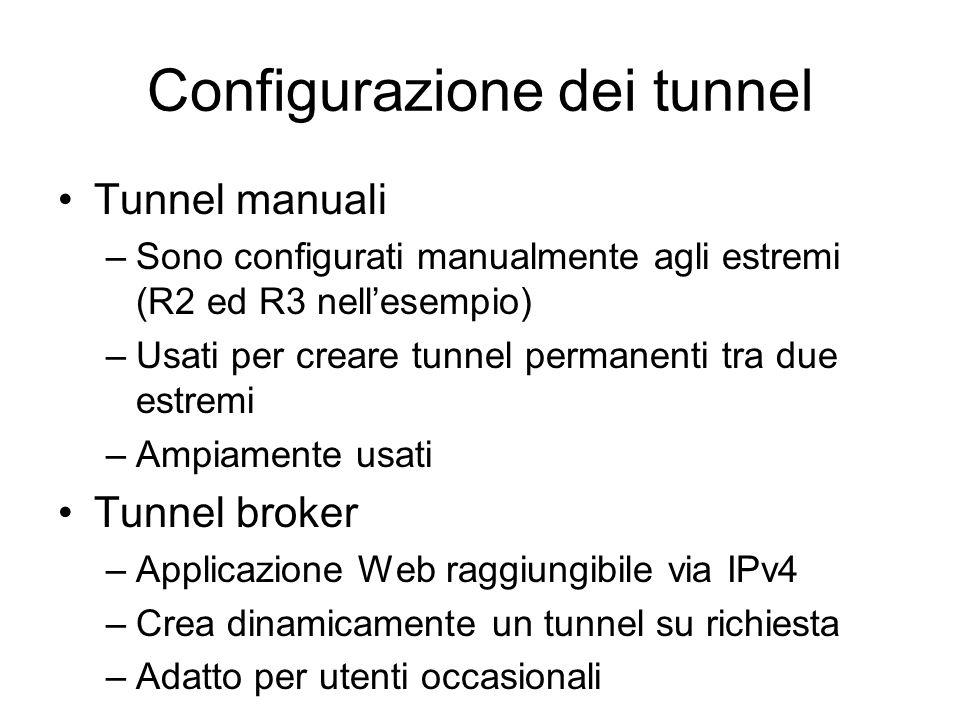 Configurazione dei tunnel Tunnel manuali –Sono configurati manualmente agli estremi (R2 ed R3 nell'esempio) –Usati per creare tunnel permanenti tra due estremi –Ampiamente usati Tunnel broker –Applicazione Web raggiungibile via IPv4 –Crea dinamicamente un tunnel su richiesta –Adatto per utenti occasionali