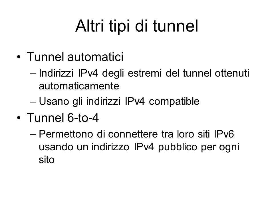 Altri tipi di tunnel Tunnel automatici –Indirizzi IPv4 degli estremi del tunnel ottenuti automaticamente –Usano gli indirizzi IPv4 compatible Tunnel 6-to-4 –Permettono di connettere tra loro siti IPv6 usando un indirizzo IPv4 pubblico per ogni sito