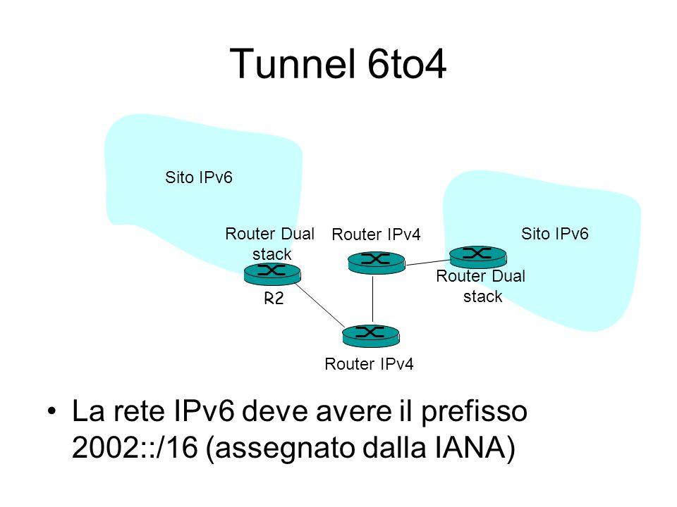 Tunnel 6to4 La rete IPv6 deve avere il prefisso 2002::/16 (assegnato dalla IANA) R2 Router Dual stack Router Dual stack Router IPv4 Sito IPv6