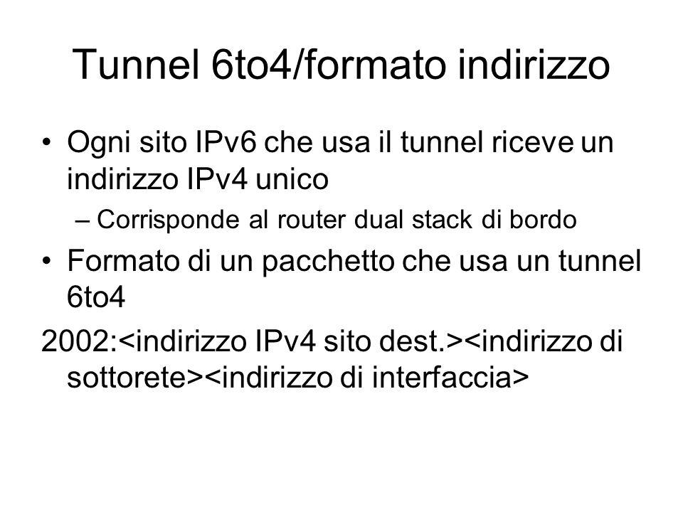 Tunnel 6to4/formato indirizzo Ogni sito IPv6 che usa il tunnel riceve un indirizzo IPv4 unico –Corrisponde al router dual stack di bordo Formato di un pacchetto che usa un tunnel 6to4 2002: