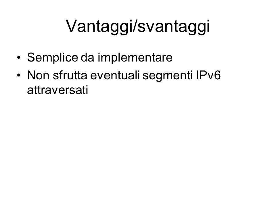 Vantaggi/svantaggi Semplice da implementare Non sfrutta eventuali segmenti IPv6 attraversati