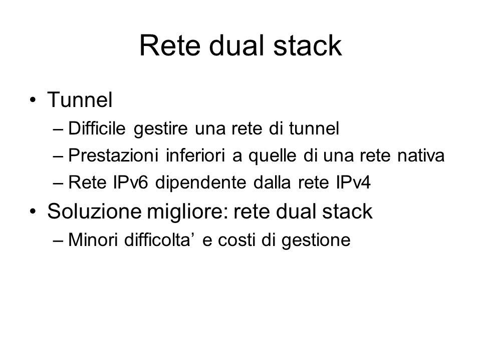 Rete dual stack Tunnel –Difficile gestire una rete di tunnel –Prestazioni inferiori a quelle di una rete nativa –Rete IPv6 dipendente dalla rete IPv4 Soluzione migliore: rete dual stack –Minori difficolta' e costi di gestione