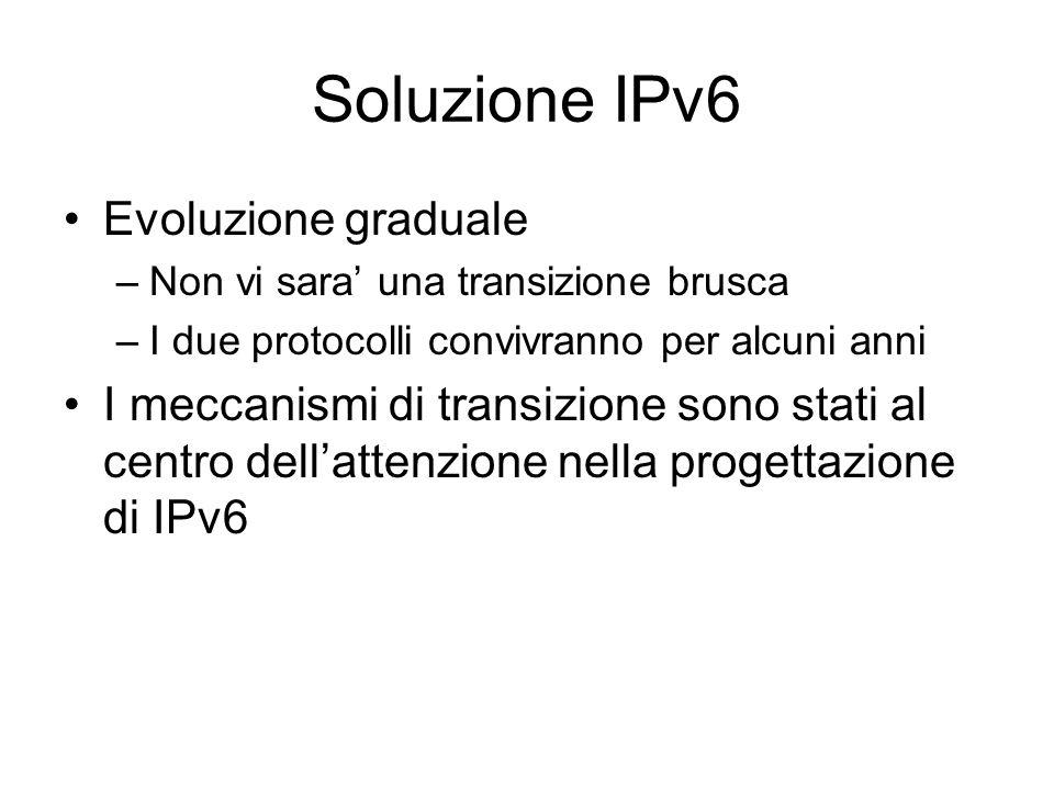 Soluzione IPv6 Evoluzione graduale –Non vi sara' una transizione brusca –I due protocolli convivranno per alcuni anni I meccanismi di transizione sono stati al centro dell'attenzione nella progettazione di IPv6