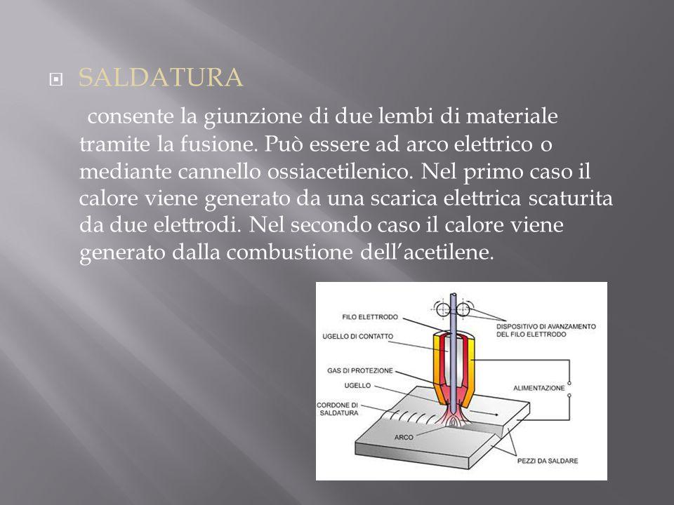  SALDATURA consente la giunzione di due lembi di materiale tramite la fusione. Può essere ad arco elettrico o mediante cannello ossiacetilenico. Nel