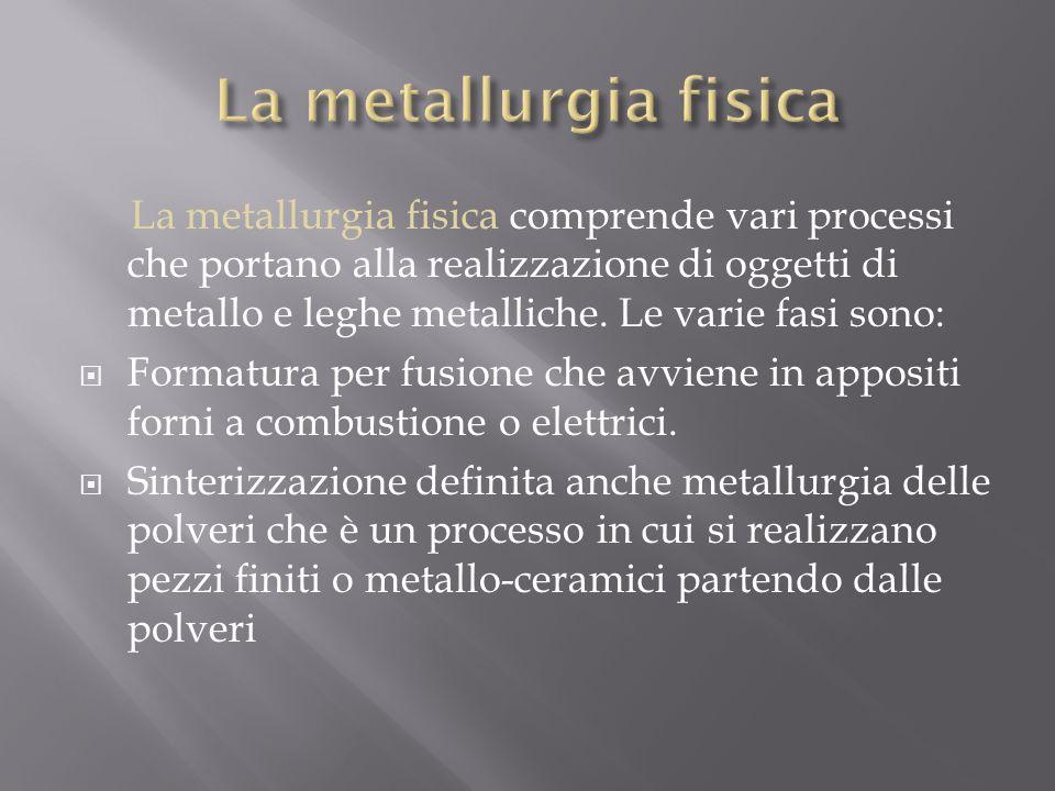 La metallurgia fisica comprende vari processi che portano alla realizzazione di oggetti di metallo e leghe metalliche. Le varie fasi sono:  Formatura