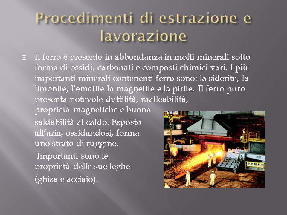  Il ferro è presente in abbondanza in molti minerali sotto forma di ossidi, carbonati e composti chimici vari. I più importanti minerali contenenti f