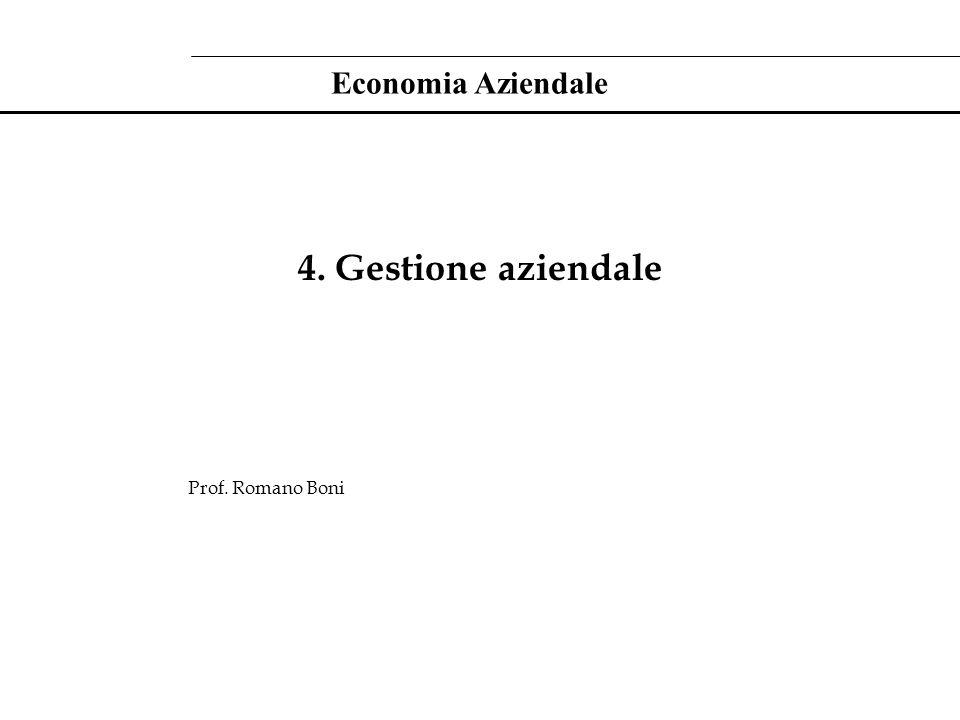 4. Gestione aziendale Prof. Romano Boni Economia Aziendale