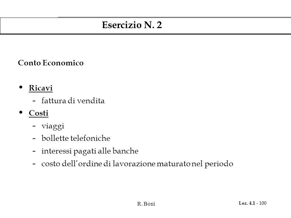 R. Boni Lez. 4.1 - 100 Esercizio N. 2 Conto Economico Ricavi - fattura di vendita Costi - viaggi - bollette telefoniche - interessi pagati alle banche