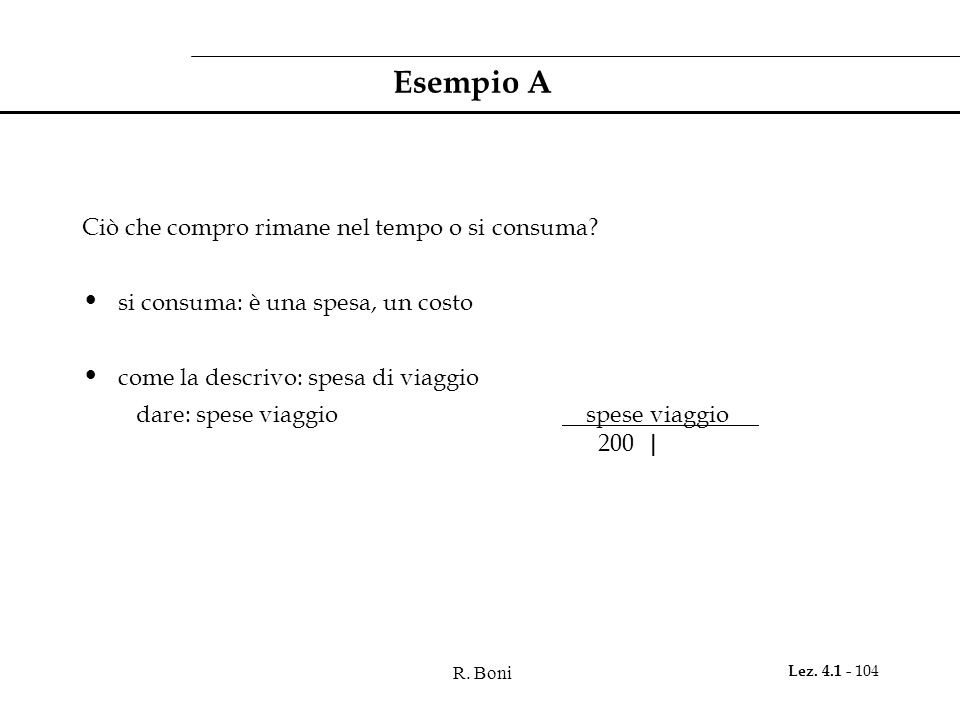 R. Boni Lez. 4.1 - 104 Esempio A Ciò che compro rimane nel tempo o si consuma? si consuma: è una spesa, un costo come la descrivo: spesa di viaggio da