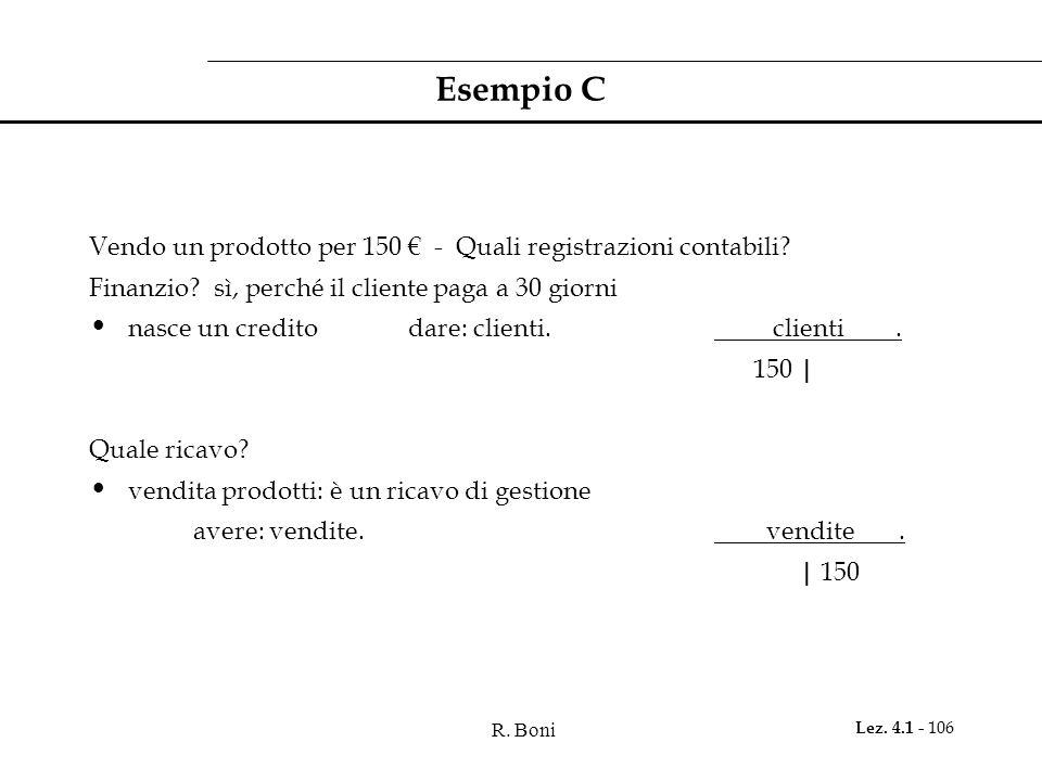 R. Boni Lez. 4.1 - 106 Esempio C Vendo un prodotto per 150 € - Quali registrazioni contabili? Finanzio? sì, perché il cliente paga a 30 giorni nasce u