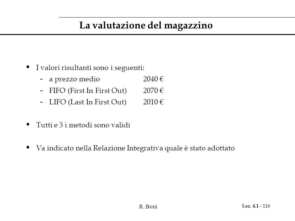 R. Boni Lez. 4.1 - 116 La valutazione del magazzino I valori risultanti sono i seguenti: - a prezzo medio2040 € - FIFO (First In First Out)2070 € - LI