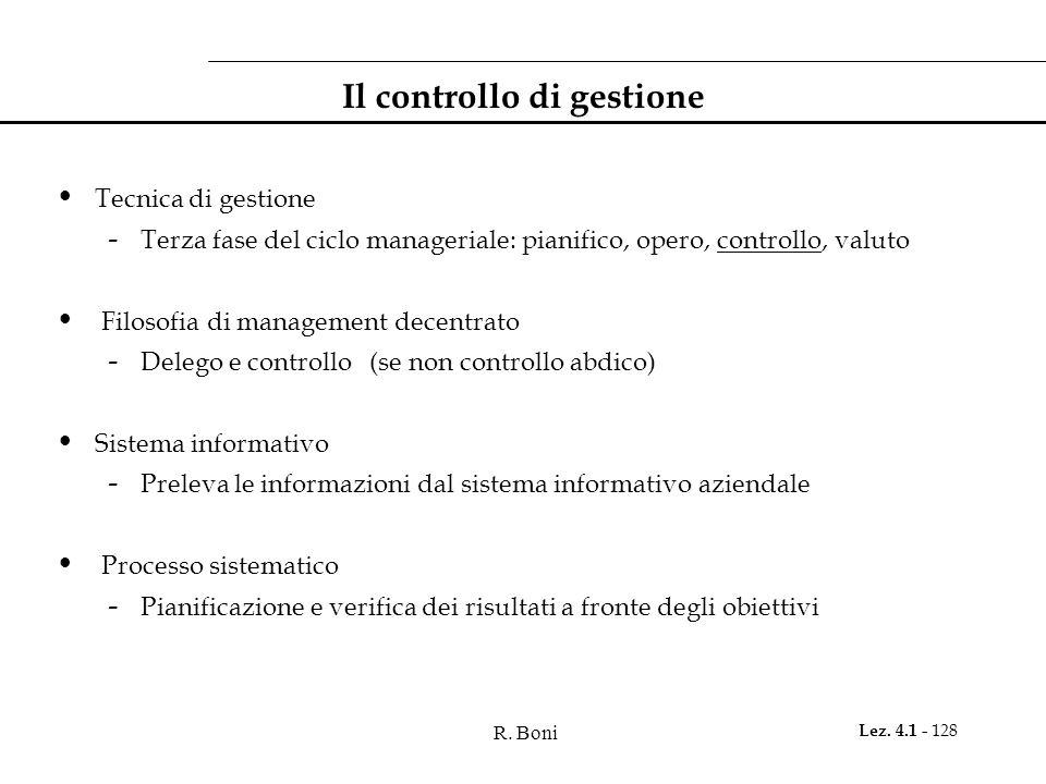 R. Boni Lez. 4.1 - 128 Il controllo di gestione Tecnica di gestione - Terza fase del ciclo manageriale: pianifico, opero, controllo, valuto Filosofia