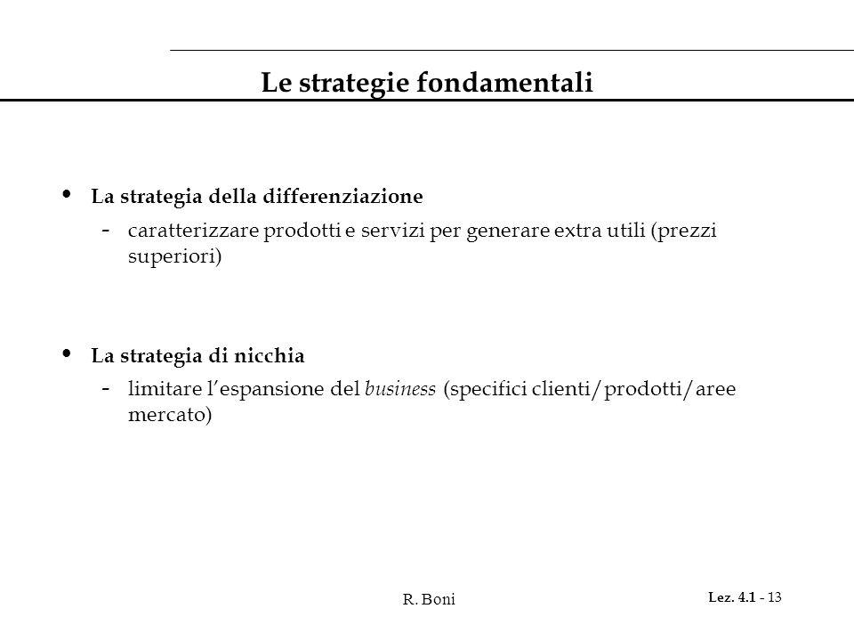 R. Boni Lez. 4.1 - 13 Le strategie fondamentali La strategia della differenziazione - caratterizzare prodotti e servizi per generare extra utili (prez