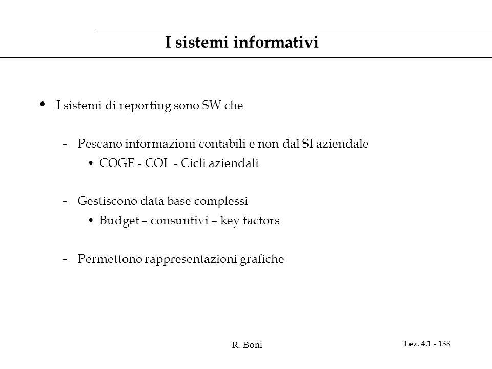 R. Boni Lez. 4.1 - 138 I sistemi informativi I sistemi di reporting sono SW che - Pescano informazioni contabili e non dal SI aziendale COGE - COI - C
