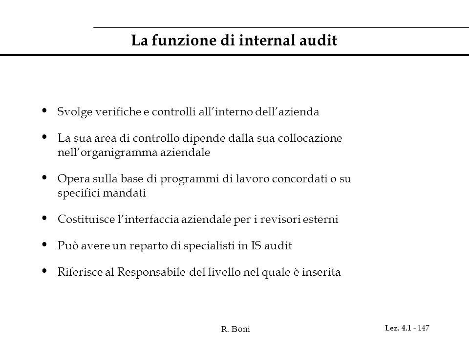 R. Boni Lez. 4.1 - 147 La funzione di internal audit Svolge verifiche e controlli all'interno dell'azienda La sua area di controllo dipende dalla sua