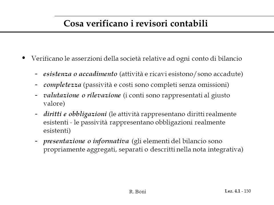 R. Boni Lez. 4.1 - 150 Cosa verificano i revisori contabili Verificano le asserzioni della società relative ad ogni conto di bilancio - esistenza o ac