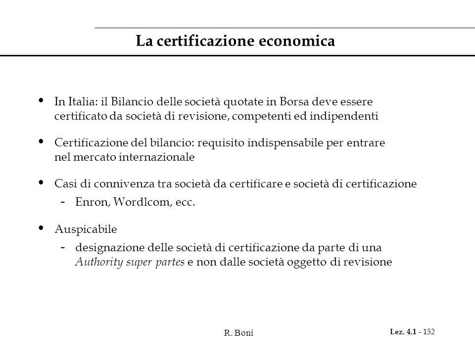 R. Boni Lez. 4.1 - 152 La certificazione economica In Italia: il Bilancio delle società quotate in Borsa deve essere certificato da società di revisio