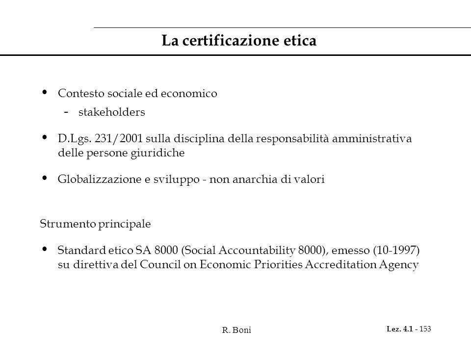 R.Boni Lez. 4.1 - 153 La certificazione etica Contesto sociale ed economico - stakeholders D.Lgs.