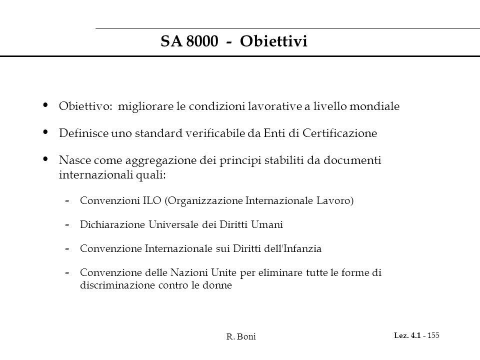 R. Boni Lez. 4.1 - 155 SA 8000 - Obiettivi Obiettivo: migliorare le condizioni lavorative a livello mondiale Definisce uno standard verificabile da En