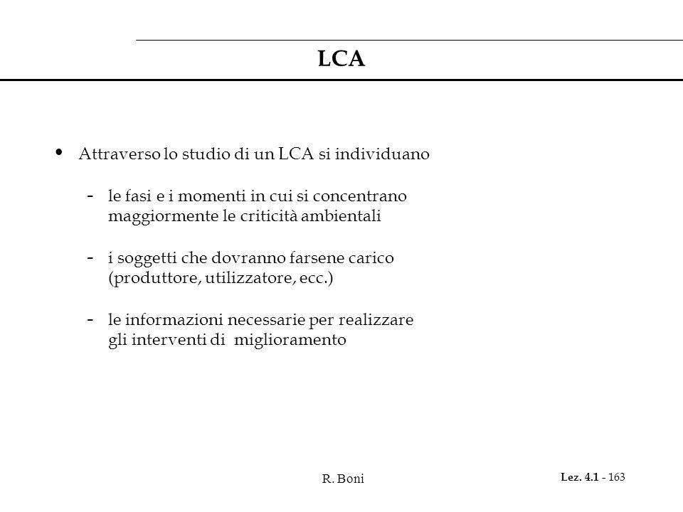 R. Boni Lez. 4.1 - 163 LCA Attraverso lo studio di un LCA si individuano - le fasi e i momenti in cui si concentrano maggiormente le criticità ambient