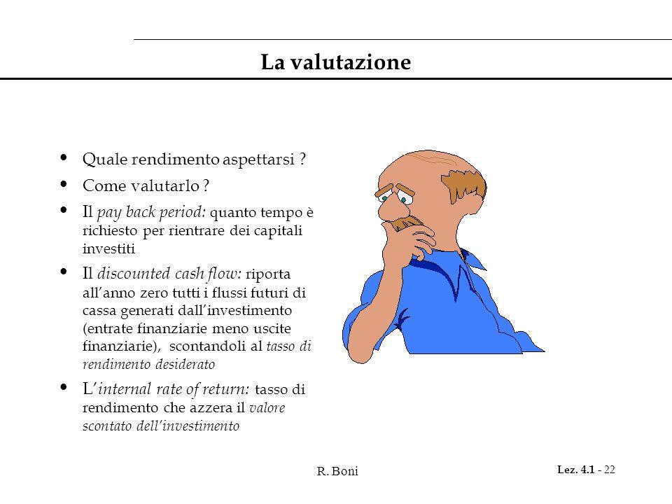 R. Boni Lez. 4.1 - 22 La valutazione Quale rendimento aspettarsi ? Come valutarlo ? Il pay back period: quanto tempo è richiesto per rientrare dei cap
